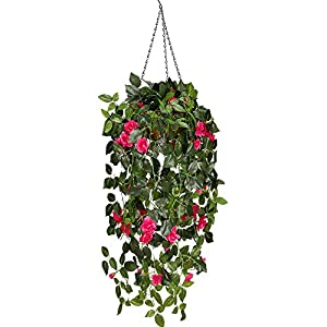 Mixinie Artificial Hanging Flower, Hanging Basket Silk Flower Rose Garland Vine for Home Outdoor Decoration 44