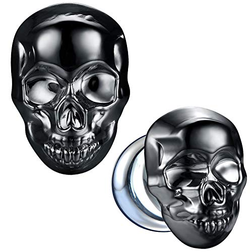 BodyJ4You Glass Ear Plugs Glossy Dark Blue Skull 12mm Double Flare Stretching Gauges Expander