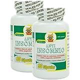 Anti Insomnio, capsulas naturales para conciliar el sueño, Set de 2 frascos 90 capsulas