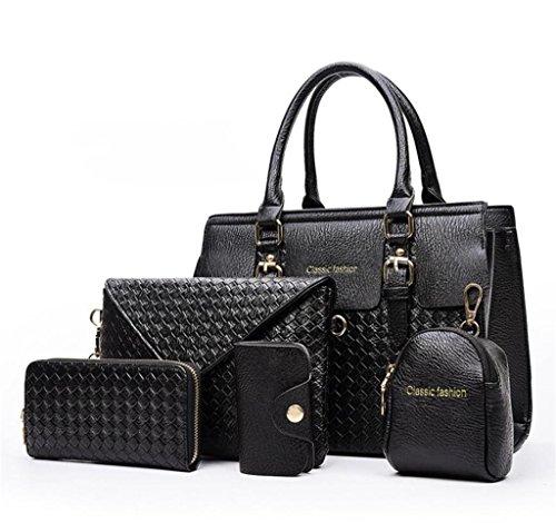 NVBAO Borsa della borsa della spalla della borsa della signora borsa del messaggero del sacchetto di acquisto semplice multifunzionale di lavoro a cinque pezzi Cinque colori black