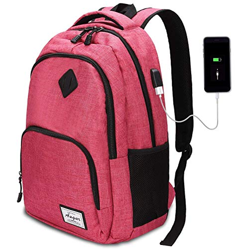 Oberhoffe Laptop Backpack Travel Backpack with USB Charging Port Anti Thief/Water Resistant College School Bookbag for Women Men Business Backpack Fit 15.6 inch Notebook (Pink) (Best Laptops For Law Students 2019)