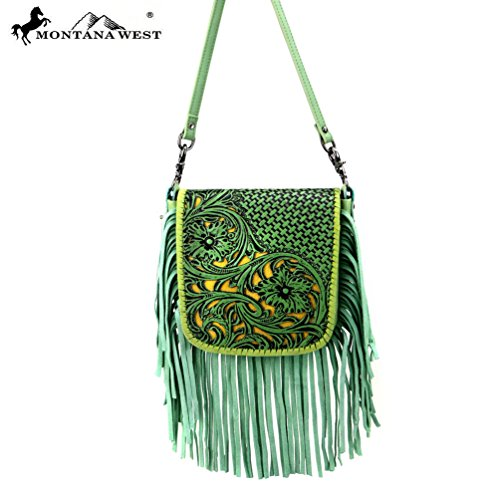 RLC-L086 Montana West 100% Real Leather Tooled Crossbody-Lime -