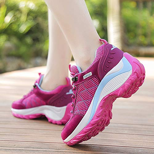 Casual Hot Outdoor Mountaineering up Pink Walk Lace Mesh Shoes Women Comfortable Running Sneakers Wedge New Ladies w6dq1txa