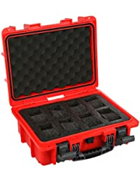 DC8RED 8 Slot Red Plastic Watch Case