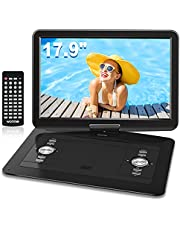 """WONNIE 17.9"""" Portable DVD/CD Player with 15.4"""" Large Swivel Screen, 1366x768 HD LCD TFT, Built-in 6 Hrs 5000mAH Rechargeable Battery, Resume Play, USB/SD Card/ AV in &Out , Regions Free, Stereo Sound"""