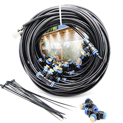 2RZ Misting Cooling System Kit 59FT(18M) Misting Line DIY Outdoor Mist Cooling Kit+21 Brass Nozzles Garden Misting Irrigation System for Lawn Patio Garden Greenhouse