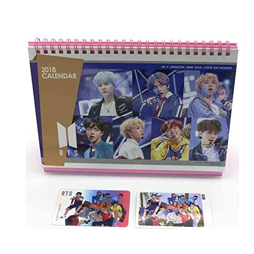 Bts Bangtan Boys 2018 Desk Calendar With Transparent Photo Card   Mini Photo Card And Stickers