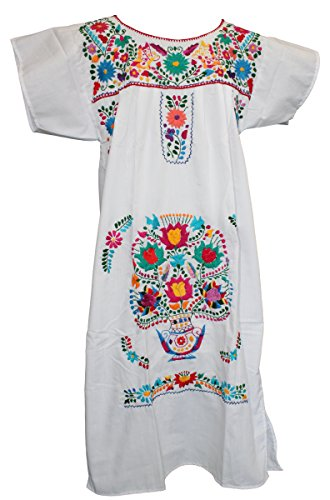 Campesina Women's Puebla Mexican Dress - White (Medium)