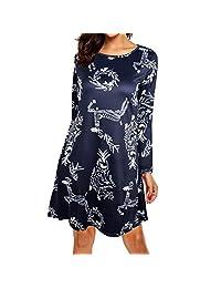 FarJing Clearance, Women Christmas Dress Long Sleeve Xmas Outfit Cozy Flared Dress