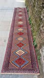 2.11x14.7 Feet Narrow Wool On Wool Red Beige And Blue Rug Runner Ethnic Rug Runner Vintage Aisle Rug Corridor Rug Hallway Carpet Kitchen Rug.Code:P879