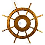 Nagina International Natural Nautical MDF Hub Wooden Pirate's Ship Steering Wheel - Home Decor - Pirate Nursery Gift (36 Inches)