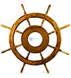 Large MDF Hub Premium Wood Nautical Handcrafted Ship Wheel | Pirates Wall Decor Gift | Nagina International (36 Inches)