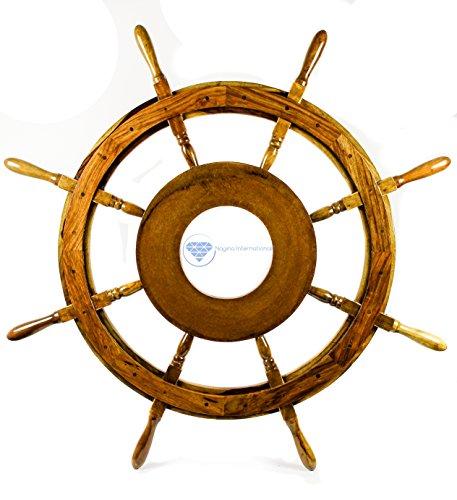Large MDF Hub Premium Wood Nautical Handcrafted Ship Wheel | Pirates Wall Decor Gift | Nagina International (36 Inches) by Nagina International
