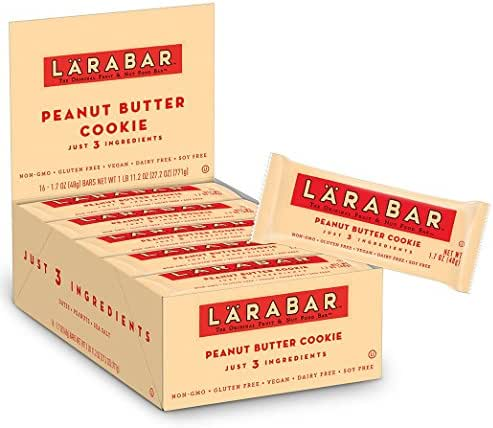 Larabar Gluten Free Bar, Peanut Butter Cookie, 1.7 oz Bars (16 Count), Whole Food Gluten Free Bars, Dairy Free Snacks