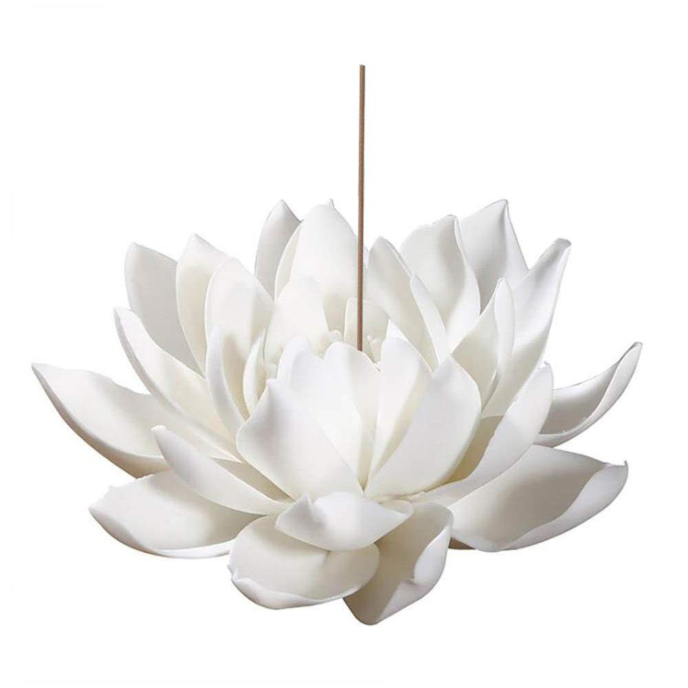 Sunormi 3.9 Inch Ceramic White Lotus Incense Burner Flower Incense Burner Stick Holder for Yoga Studio Living Room Home Decor