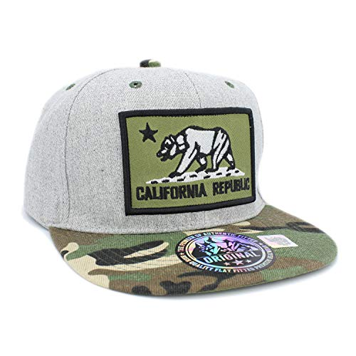 Embroidered California Republic Bear in Square Patch Snapback Baseball Hat (Hgrey/Olive/CAMO)
