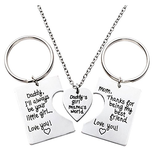 JOVIVI Family Jewelry - 3pcs Daddy's Girl & Mama's World Keychain & Necklace Set for Father Mother's Day Gift