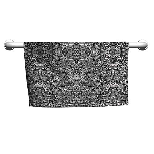 (duommhome Abstract Soft Superfine Fiber Bath Towel Abstract Composition Floral and Geometric Elements Symmetrical Tattoo Design W19 x L19 Beige)