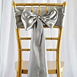 Efavormart 5pcs Silver Satin Chair Sashes Tie Bows for Wedding Events Decor Chair Bow Sash Party Decoration Supplies 6 x106
