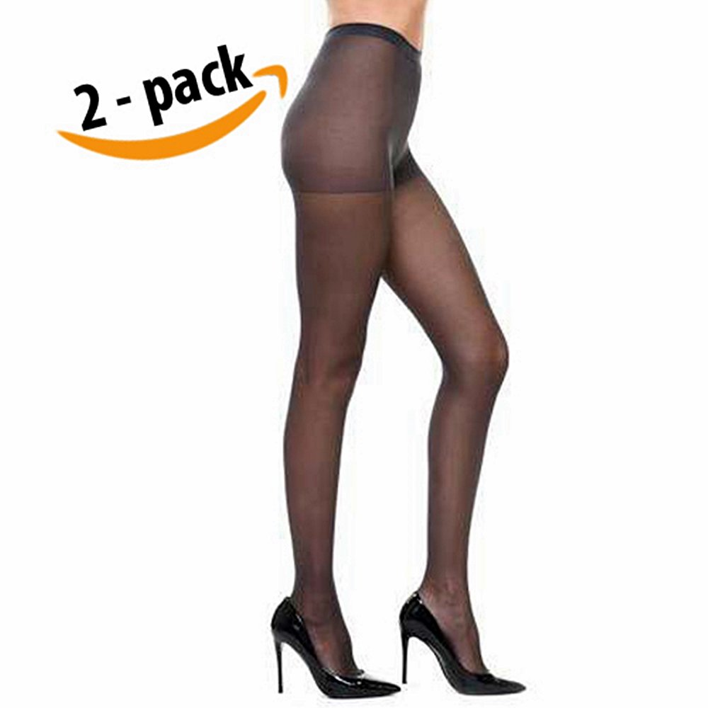 Vivien Women High Support Pantyhose Stocking - 2 PACKS of Silky Soft Light weight Comfortable Stretchy Waistband Sheer Nylon and Spandex Hosiery Panty hose with Reinforced Toe - ONE SIZE OFF BLACK