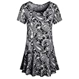 Wugeshangmao Womens Tops Fashion Teen Girl's Summer Sexy Short Sleeve O Neck Floral Print Tops Shirt Tank Tops Blouses Black