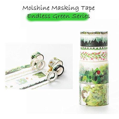 Molshine Set of 6 Decorative Japanese Washi Masking Adhesive Tape -Endless Green Series - Collection, (2 rolls 30mm X 5m , 2 rolls 15mmX7m , 2 rolls 5mmX7m) for DIY (CL016EG)