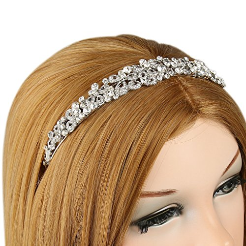 EVER FAITH® Vintage Inspired Flower Clear Austrian Crystal Headband