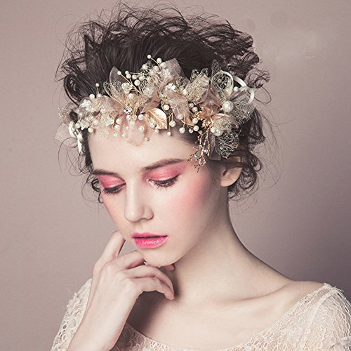 "Wedding Headpieces Flower Wreath, Pearls Headband Tiara, Crystals Hair Accessories for Bride Bridesmaid, Gold (7.9"" x 3.5"")"