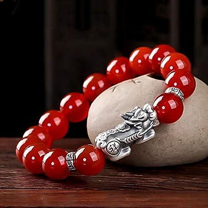Feng Shui ágata roja pulsera de cornalina pulsera / Piyao pulsera riqueza prosperidad Amuleto de plata pura Pixiu Atraer regalo brazalete de Lucky Love elástico para las mujeres / hombres,8mm