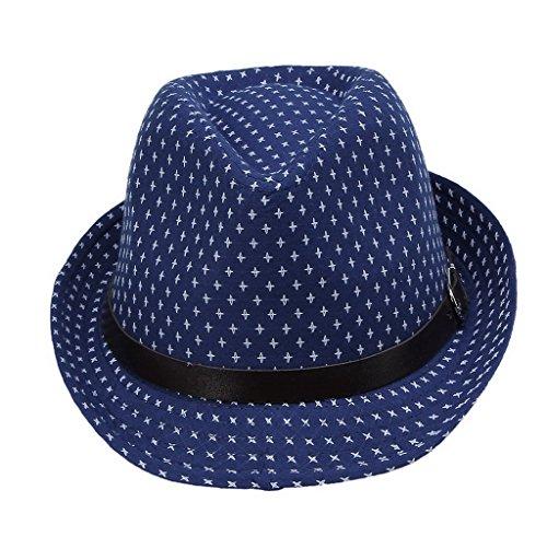 COMVIP Children Buckle Dot Print Panama Fedora Cap Sun Hat Blue ()