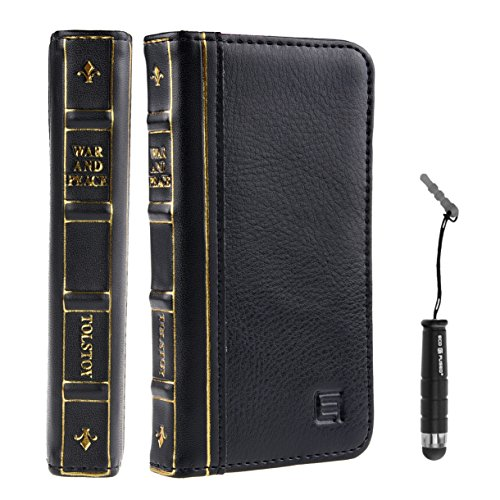 Eco-Fused Genuine Leather Vintage Classic Book Series Handmade Case for Apple iPhone 5 and 5s / One Short Stylus/Eco-Fused Microfiber Cleaning Cloth Included - War & Peace (Black)