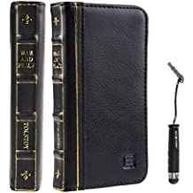 Eco-Fused Genuine leather Vintage Classic Book Series handmade Case for Apple iphone 5 and 5s / One Short Stylus / Eco-Fused Microfiber Cleaning Cloth Included - War & Peace (Black)