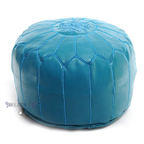 Stuffed Turquoise Moroccan Leather Pouf Handmade Ottoman Pouffe, Hassock, Tuffet, Foot Stool, Seating Foot Rest