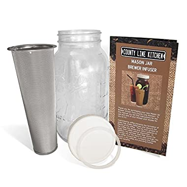 2 Quart - Cold Brew Coffee Maker, Iced Coffee and Iced Tea Maker Infuser, Mason Jar and Stainless Steel Filter - 64 Oz