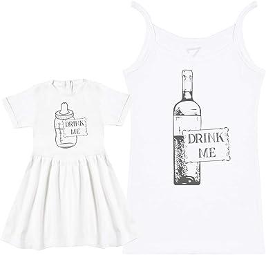 Matching Mother Baby Gift Set Drink Me Milk /& Wine Womens T Shirt /& Baby T Shirt