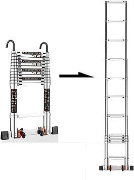 2,5 m / 8.20ft aluminio Extensión telescópica plegable escalera recta Escaleras telescópicas Capacidad - 150kg / 330lb: Amazon.es: Bricolaje y herramientas