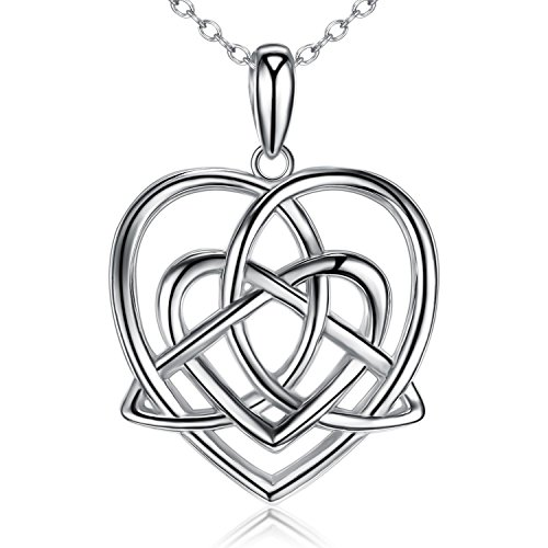 BGTY S925 Sterling Silver Celtic Knot Triangle Vintage Love Heart Pendant Necklace (Double Heart Necklace) Double Heart Charm Jewelry