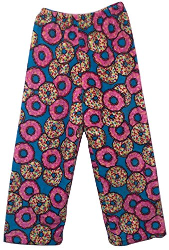 Made with Love and Kisses Girl's Fuzzy Plush Pajama/Loungewear Pants - Blue Sprinkle Donuts - 8/10