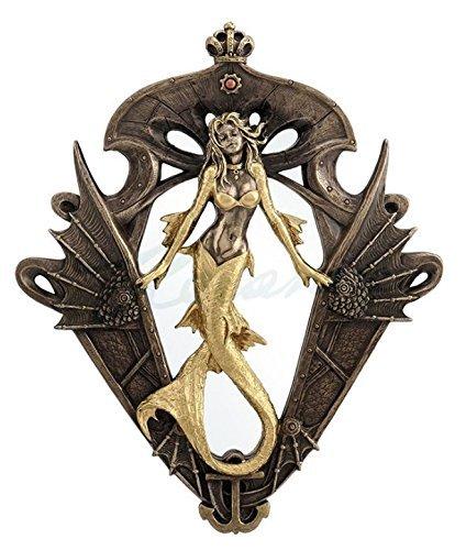 Steampunk Golden Mermaid Wall Hanging Mirror