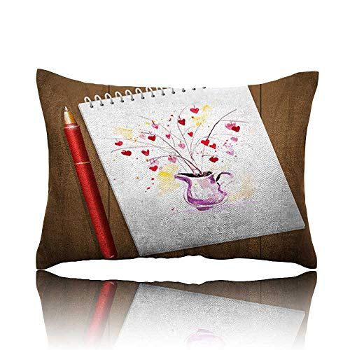 Neck Pillow Watercolor Artistic Valentine Day Heart Bouquet Illustration Wedge Pillow 16