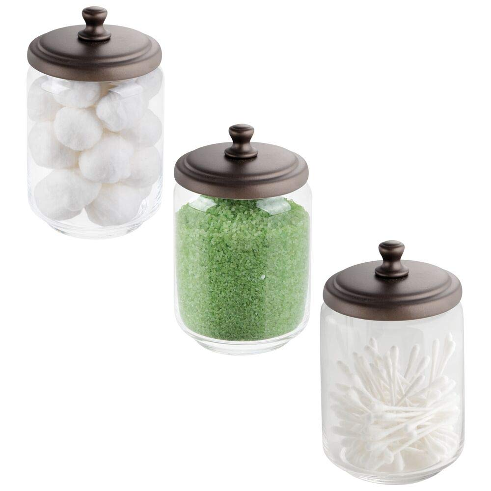 mDesign Modern Glass Bathroom Vanity Countertop Storage Organizer Canister Apothecary Jar for Cotton Swabs, Rounds, Balls, Makeup Sponges, Beauty Blenders, Bath Salts - 3 Pack - Clear/Bronze
