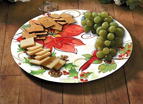 Counter Art 13'' Glass Lazy Susan Serving Plate, Joyous Poinsettia