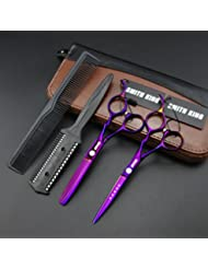 6.0 Inches Hair Cutting Scissors Set with Combs Lether...