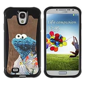 ZAKO Cases / Samsung Galaxy S4 I9500 / Funny Karate Cookiemonster / Robusto Prueba de choques Caso Billetera cubierta Shell Armor Funda Case Cover Slim Armor