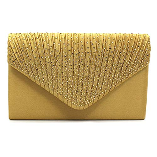 Purse Girls for Handbag Clutch Chain SIMANLI Bag Clutch Wedding Prom Bling Black Evening Ladies with Rhinestone for Women Gold Shoulder Bag Satin Wallet Party Ball xww70qAz
