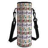 iPrint Water Bottle Sleeve Neoprene Bottle Cover,Jurassic Decor,Dinosaurs Pattern Illustration Funny Humorous Children Artwork Doodle Fun,Fit for Most of Water Bottles