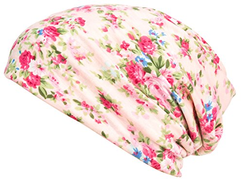 - HONENNA Printed Turban Headband Chemo Cap Cotton Soft Sleep Beanie (Pink)