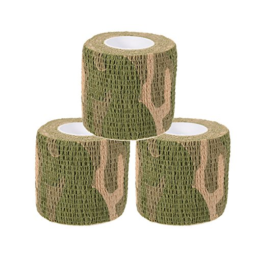 Uning Self-adhesive Protective Camouflage Tape Wrap 5CM x 4.5M Tactical Camo Form Multi-functional Non-woven Fabric Stealth Tape Stretch Bandage for Outdoor Military Hunting (Pack of 3) (Camouflage 8)