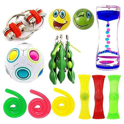 Pods 14 Count - 14 Pack Bundle Sensory Fidget Toys Set-Bike Chain,Marble Fidget Toys,Rainbow Magic Sensory Balls,Squeeze a Bean Soybeans,Mesh Squishy Grape Ball for Stress Relax