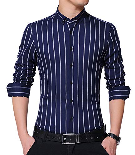 JKWES Men's Classic Casual Slim Fit Vertical Striped Button Down Dress Shirt US M Dark Blue